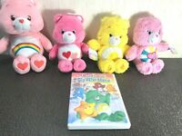 Vintage Set of 4 Care Bears and Care Bear DVD Movie