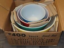 Pyrex Rare New In Box Primary Set #400 4 Mixing Bowls Yellow Green Red Blue