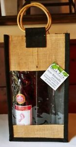 """NEW NWT Bella Vita Jute Gift Bag Eco Friendly Wine 15""""x8""""x4"""" with 3 Sections"""