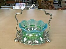 BEAUTIFUL ANTIQUE VASELINE GLASS DISH / BOWL ON SILVER PLATED STAND