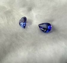 PAIR 1.2ctw certified TANZANITE natural loose pear gem Blue for EARRINGS 5x7x3mm