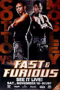 Vintage Original Miguel Cotto vs. Sugar Shane Mosley Boxing Fight Poster