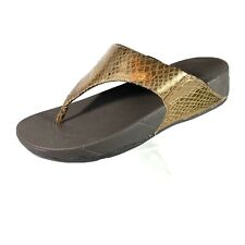 Fitflop Women's Thong Sandals Bronze Leather Snake Prints Shiny Size 9
