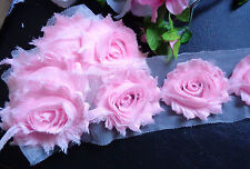 "2.5"" shabby chiffon rose trim set of 2 or 1 or 1/2  yard/select color and length"