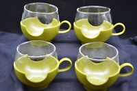 Set of Four Retro 1960's PYREX Olive Green Glass Holder Cups & 8 oz Glasses