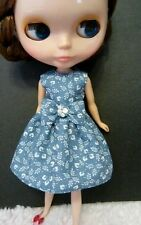 Blythe Doll Outfit Cloth White Flower Big bow Blue Dress
