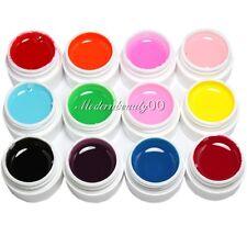 12 Pcs Solid Colors Mix Pure Nail Art UV Builder Gel Set for Acrylic False Tips
