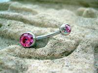 """Double CZ Gem Navel Belly Ring 14g Gauge 7/16"""" Pink Surgical Steel"""