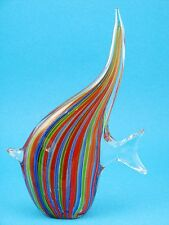 Murano Red, Blue & Black Ribon Art-Glass Salt Water Angelfish Fish Figurine