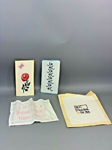 Lot of 4 Vintage Embroidery For Framing