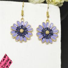 Girl Betsey Johnson Women Stand Earrings New Purple Enamel Cute Sunflower Flower