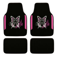 Universal Car Floor Mats Pink Butterfly 4 PC Anti-slip Carpet for SUV VAN Sedan