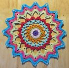 Colorful+Mandala+Handmade+Crochet+Doily+-+Pink+Green+Aqua+Red+Orange+Blue