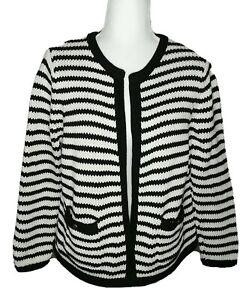 Lands' End Women's Open Chunky Wht/Black Stripe Nautical Drifter Sweater Medium