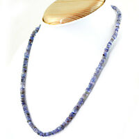 92.00 CTS NATURAL RICH BLUE TANZANITE UNTREATED BEADS NECKLACE - FREE SHIPPING
