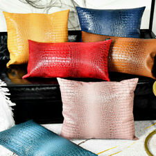 Faux Leather Cushion Case Luxury Crocodile Pattern Throw Pillow Cover Bed Decor