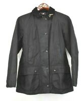 Barbour Womens Black Beadnell Wax Jacket Corduroy Collar Full Zip Snap Button 4