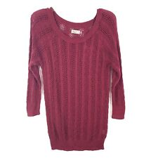 So Womens Sweater Size Juniors XL Maroon 3/4 Sleeve Cable Knit Top