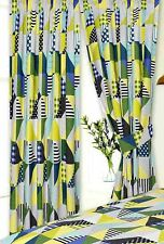 """PAIR OF LIME GREEN & YELLOW PATCHWORK GEOMETRIC 66"""" X 72"""" PENCIL PLEAT CURTAINS"""