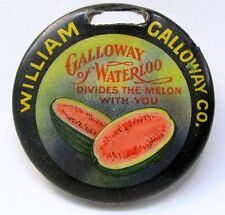 c. 1905 William Galloway farm implement rare All celluloid version watch fob *