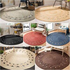 Rug 100% Natural braided Jute bohemian area carpet handmade reversible decor rug