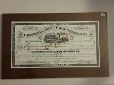CA Street Cable RR Stock Certificate - REPRODUCTION, San Francisco, California