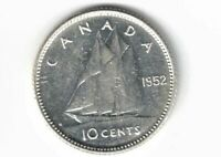CANADA 1952 TEN CENTS DIME KING GEORGE VI .800 SILVER COIN CANADIAN