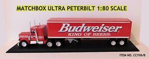 MATCHBOX ULTRA BUDWEISER PETERBILT TRUCK 1:80 SCALE PRE-OWNED