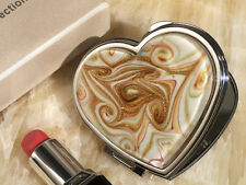 1 Gold Brown Murano Art Glass Heart Compact Mirror Anniversary Wedding Favor