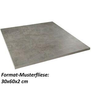 Muster Lounge 60x60x2 cm anthrazit matt Betonoptik Terrassenplatte R11 1.Wahl