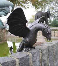 Bronzeskulptur, großer Drache ohne Sockel mit Wasserspeier, Garten- Teichdeko *