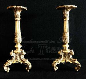 Candeliere antico barocco 2 Pz oro 1 fiamma candelabro portacandele H50 cm R83