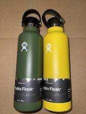 2 *BRAND NEW* Green & Yellow Hydroflask 21oz Hydration bottle