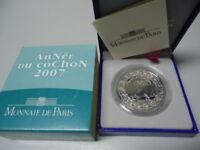 FRANKREICH 2007 - 1/4 Euro in Silber, PP - JAHR DES SCHWEINS Lunar Cochon Pig