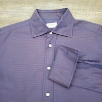 Emmett London Men's Dress Shirt Size Large French Flip Cuff Zig Zag Blue Purple
