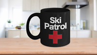 Ski Patrol Mug Black Coffee Cup Funny Gift for Patroller Medic First Aid Rescue