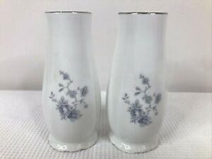Johann Haviland Salt & Pepper Set Blue Garland Platinum Trim Bavaria Germany EUC