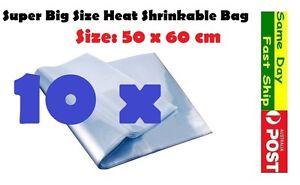 .10x Heat Shrink Large Bag Wrap Film 50x60cm Seal Gift Packing PVC Shrinkable AU