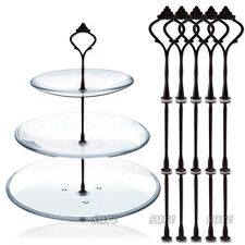 BLACK 5pcs 3 Tier Cake Cupcake Cookies Plate Stand Handle Fitting Holder Crown