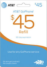AT&T - AT&T Prepaid $45 Top-Up Prepaid Card