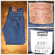 Vtg Levi's 505 Dark Wash Regular Fit Straight Leg Men's Denim Jeans 34 X 30 USA