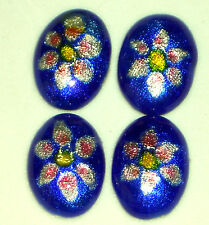 JAPANESE Ginbari cabochons, antique japanese foil cloisonne,Glass 18/13  #1186