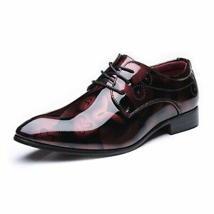 Men's Abstract Painting Shoes Classic Loafers Business Oxfords Lace Up Blackheel