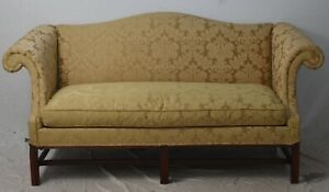 Hickory Chair Mahogany Chippendale Style Sofa Gold Damask Fabric