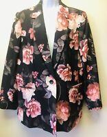 New Nine West Women's 16 Black Pink Floral Rose Notch Collar Blazer Jacket $79