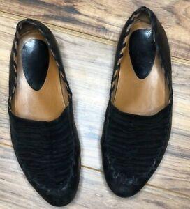 Earthies Treano Black Leather Slip Ons Sz 8.5