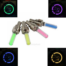 4x LED Flash Neon Lamp Tyre Wheel Valve Cap Light For Car Bike Bicycle Motorbike