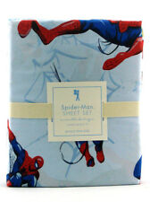Pottery Barn Kids Spider-Man Sheet Set Queen Sized Marvel Comics Bedding Blue