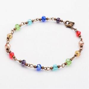 7 Chakra Ankle Bracelet Anklet Crystal Jewellery Rainbow Boho Chain Heart UK