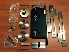 ROLLER MORTICE MORTISE LOCK ROUND ESCUTCHEONS INTEGRATED PRIVACY SNIB STAINLESS